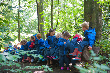Children from school visit sitting on logs
