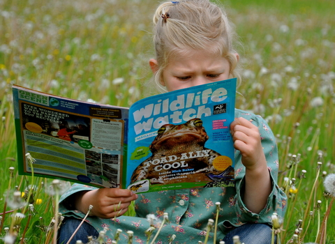 Girl reading Wildlife Watch
